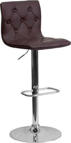 Flash Furniture CH-112080-BRN-GG Contemporary Tufted Brown Vinyl Adjustable Height Bar Stool with Chrome Base - Peazz Furniture