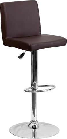 Flash Furniture CH-92066-BRN-GG Contemporary Brown Vinyl Adjustable Height Bar Stool with Chrome Base - Peazz Furniture