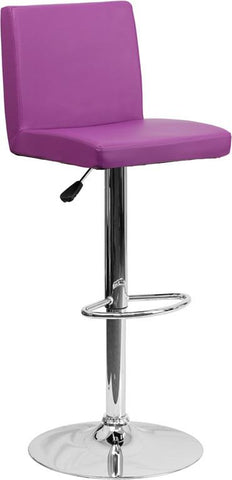 Flash Furniture CH-92066-PUR-GG Contemporary Purple Vinyl Adjustable Height Bar Stool with Chrome Base - Peazz Furniture
