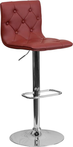 Flash Furniture CH-112080-BURG-GG Contemporary Tufted Burgundy Vinyl Adjustable Height Bar Stool with Chrome Base - Peazz Furniture