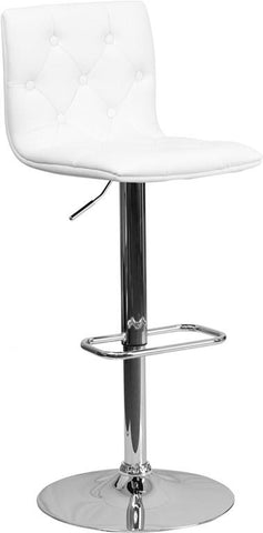 Flash Furniture CH-112080-WH-GG Contemporary Tufted White Vinyl Adjustable Height Bar Stool with Chrome Base - Peazz Furniture