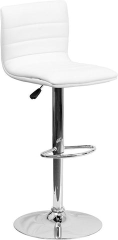 Flash Furniture CH-92023-1-WH-GG Contemporary White Vinyl Adjustable Height Bar Stool with Chrome Base - Peazz Furniture