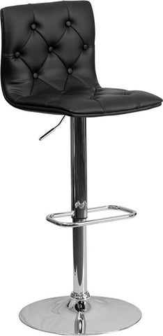 Flash Furniture CH-112080-BK-GG Contemporary Tufted Black Vinyl Adjustable Height Bar Stool with Chrome Base - Peazz Furniture