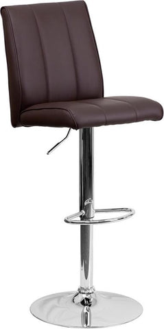 Flash Furniture CH-122090-BRN-GG Contemporary Brown Vinyl Adjustable Height Bar Stool with Chrome Base - Peazz Furniture