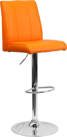 Flash Furniture CH-122090-ORG-GG Contemporary Orange Vinyl Adjustable Height Bar Stool with Chrome Base - Peazz Furniture