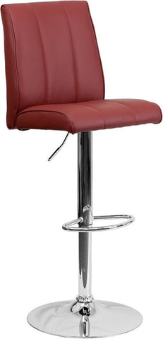 Flash Furniture CH-122090-BURG-GG Contemporary Burgundy Vinyl Adjustable Height Bar Stool with Chrome Base - Peazz Furniture