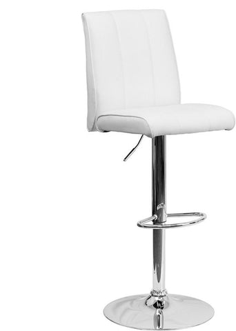 Flash Furniture CH-122090-WH-GG Contemporary White Vinyl Adjustable Height Bar Stool with Chrome Base - Peazz Furniture