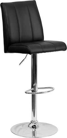 Flash Furniture CH-122090-BK-GG Contemporary Black Vinyl Adjustable Height Bar Stool with Chrome Base - Peazz Furniture