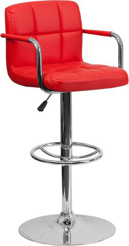 Flash Furniture CH-102029-RED-GG Contemporary Red Quilted Vinyl Adjustable Height Bar Stool with Arms and Chrome Base - Peazz Furniture