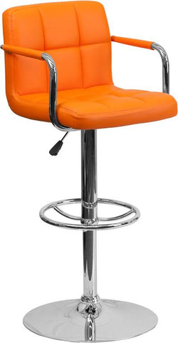 Flash Furniture CH-102029-ORG-GG Contemporary Orange Quilted Vinyl Adjustable Height Bar Stool with Arms and Chrome Base - Peazz Furniture