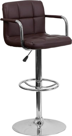 Flash Furniture CH-102029-BRN-GG Contemporary Brown Quilted Vinyl Adjustable Height Bar Stool with Arms and Chrome Base - Peazz Furniture