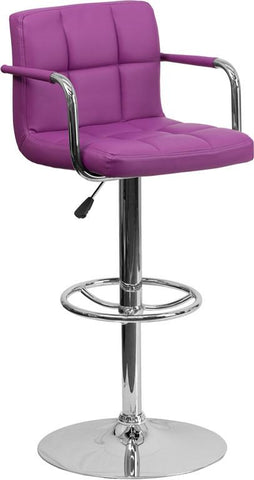 Flash Furniture CH-102029-PUR-GG Contemporary Purple Quilted Vinyl Adjustable Height Bar Stool with Arms and Chrome Base - Peazz Furniture