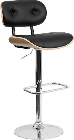 Flash Furniture SD-2228-BEECH-GG Beech Bentwood Adjustable Height Bar Stool with Button Tufted Black Vinyl Upholstery - Peazz Furniture