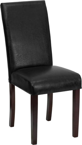 Black Leather Upholstered Parsons Chair BT-350-BK-LEA-023-GG by Flash Furniture - Peazz Furniture