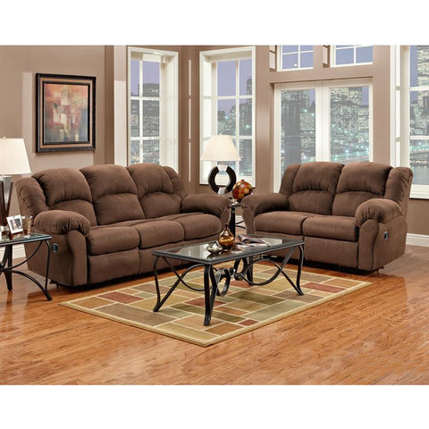 Flash Furniture 1000ARUBACHOCOLATE-SET-GG Exceptional Designs Reclining Living Room Set in Aruba Chocolate Microfiber - Peazz Furniture