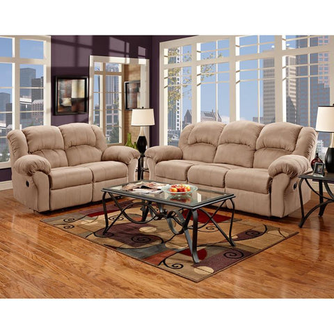 Flash Furniture 1000SENSATIONSCAMEL-SET-GG Exceptional Designs Reclining Living Room Set in Sensations Camel Microfiber - Peazz Furniture