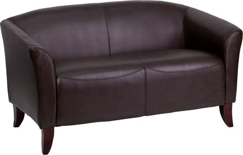 Flash Furniture 111-2-BN-GG HERCULES Imperial Series Brown Leather Love Seat - Peazz Furniture