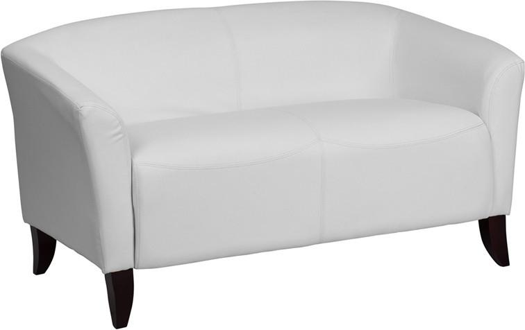 Flash Imperial White Leather Love Seat Hercules