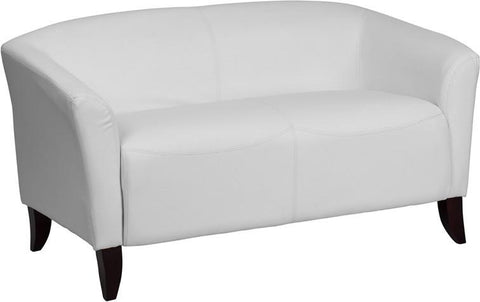 Flash Furniture 111-2-WH-GG HERCULES Imperial Series White Leather Love Seat - Peazz Furniture