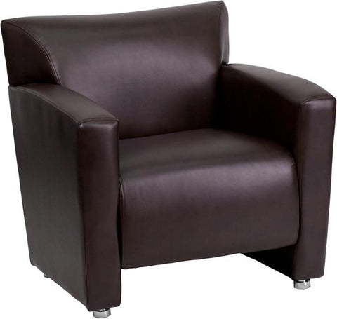 Flash Furniture 222-1-BN-GG HERCULES Majesty Series Brown Leather Chair - Peazz Furniture