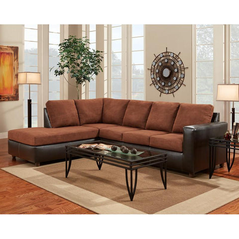 Flash Furniture 3650SECARUBACHOCOLATE-GG Exceptional Designs Aruba Chocolate Microfiber L-Shaped Sectional - Peazz Furniture