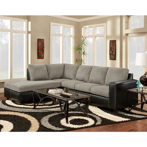 Flash Furniture 3650SECSENSATIONSGREY-GG Exceptional Designs Sensation Grey Microfiber L-Shaped Sectional - Peazz Furniture