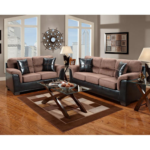 Flash Furniture 6000LAREDOCHOCOLATE-SET-GG Exceptional Designs Living Room Set in Laredo Chocolate Microfiber - Peazz Furniture