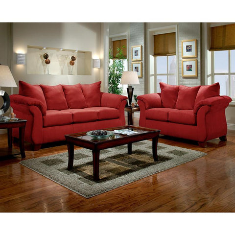 Flash Furniture 6700SENSATIONSREDBRICK-SET-GG Exceptional Designs Living Room Set in Sensations Red Brick Microfiber - Peazz Furniture