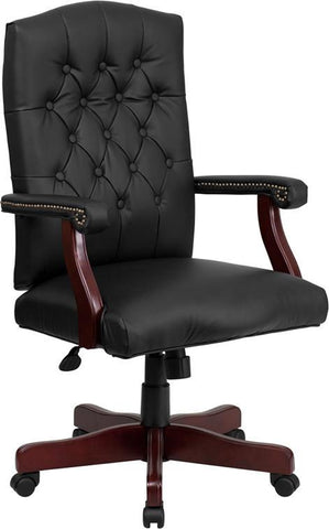 Flash Furniture 801L-LF0005-BK-LEA-GG Martha Washington Black Leather Executive Swivel Chair - Peazz Furniture