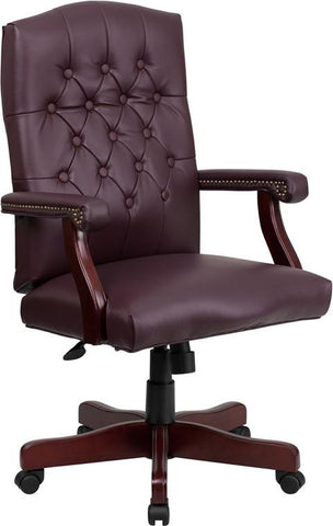 Flash Furniture 801L-LF0019-BY-LEA-GG Martha Washington Burgundy Leather Executive Swivel Chair - Peazz Furniture