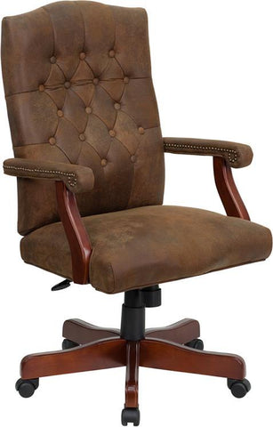 Bomber Brown Classic Executive Office Chair 802-BRN-GG by Flash Furniture - Peazz Furniture