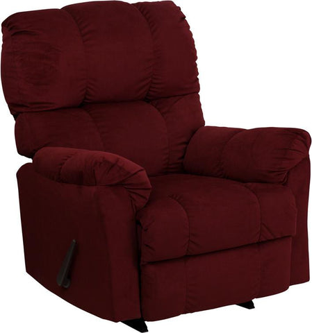 Contemporary Top Hat Berry Microfiber Rocker Recliner AM-9320-4170-GG by Flash Furniture - Peazz Furniture