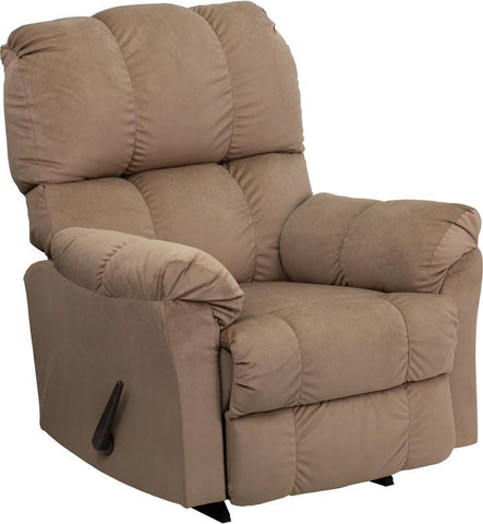 Contemporary Top Hat Coffee Microfiber Rocker Recliner AM-9320-4172-GG by Flash Furniture - Peazz Furniture