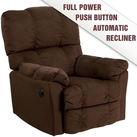 Flash Furniture AM-P9320-4171-GG Contemporary Top Hat Chocolate Microfiber Power Recliner - Peazz Furniture