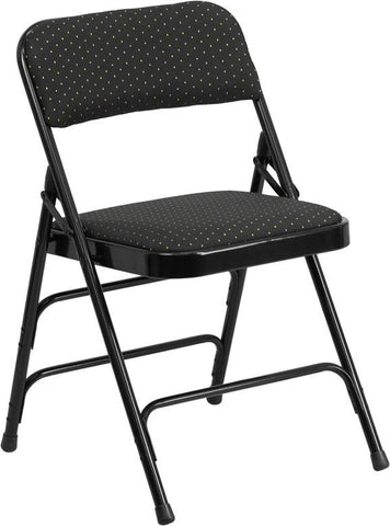 Flash Furniture AW-MC309AF-BLK-GG HERCULES Series Curved Triple Braced & Quad Hinged Black Patterned Fabric Upholstered Metal Folding Chair - Peazz Furniture