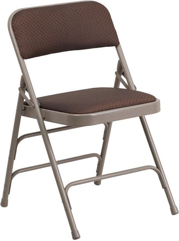 Flash Furniture AW-MC309AF-BRN-GG HERCULES Series Curved Triple Braced & Quad Hinged Brown Patterned Fabric Upholstered Metal Folding Chair - Peazz Furniture