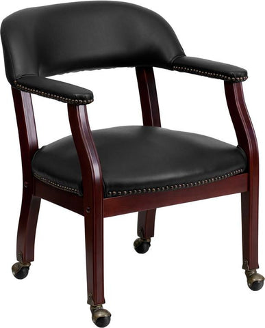 Flash Furniture B-Z100-BLACK-GG Black Vinyl Luxurious Conference Chair with Casters - Peazz Furniture