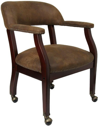 Bomber Jacket Brown Luxurious Conference Chair with Casters B-Z100-BRN-GG by Flash Furniture - Peazz Furniture