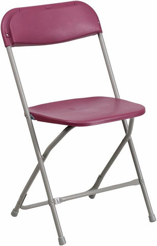 Flash Furniture BH-D0001-BG-GG HERCULES Series 440 lb. Capacity Premium Burgundy Plastic Folding Chair - Peazz Furniture
