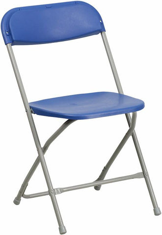 Flash Furniture BH-D0001-BL-GG HERCULES Series 440 lb. Capacity Premium Blue Plastic Folding Chair - Peazz Furniture