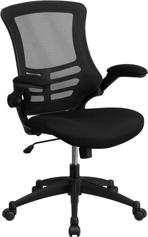 Flash Furniture BL-X-5M-BK-GG Mid-Back Black Mesh Chair with Nylon Base - Peazz Furniture