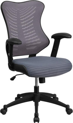 Flash Furniture BL-ZP-806-GY-GG High Back Gray Mesh Chair with Nylon Base - Peazz Furniture