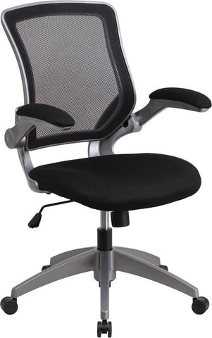 Flash Furniture BL-ZP-8805-BK-GG Mid-Back Black Mesh Task Chair with Flip-Up Arms - Peazz Furniture