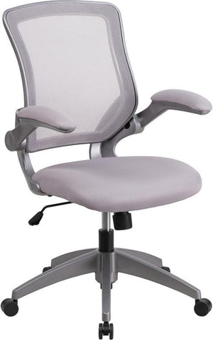 Flash Furniture BL-ZP-8805-GY-GG Mid-Back Gray Mesh Task Chair with Flip-Up Arms - Peazz Furniture