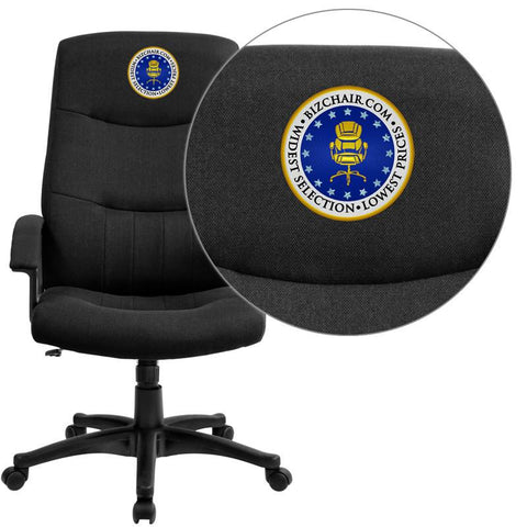 Flash Furniture BT-134A-BK-EMB-GG Embroidered High Back Black Fabric Executive Swivel Office Chair - Peazz Furniture