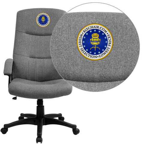 Flash Furniture BT-134A-GY-EMB-GG Embroidered High Back Gray Fabric Executive Swivel Office Chair - Peazz Furniture