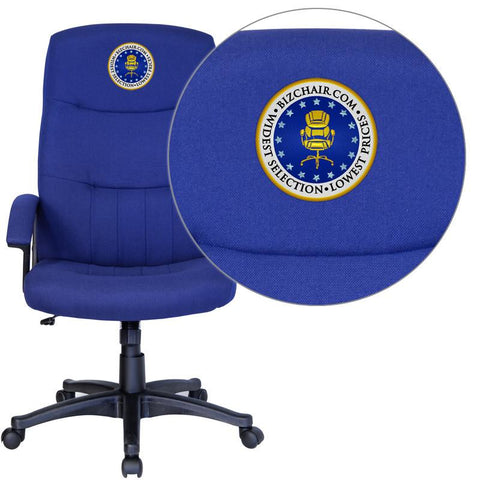 Flash Furniture BT-134A-NVY-EMB-GG Embroidered High Back Navy Fabric Executive Swivel Office Chair - Peazz Furniture