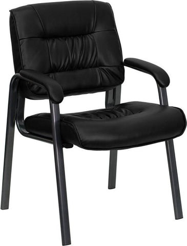 Black Leather Executive Side Chair with Titanium Frame Finish BT-1404-BKGY-GG by Flash Furniture - Peazz Furniture