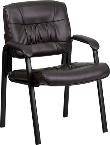 Brown Leather Guest / Reception Chair with Black Frame Finish BT-1404-BN-GG by Flash Furniture - Peazz Furniture