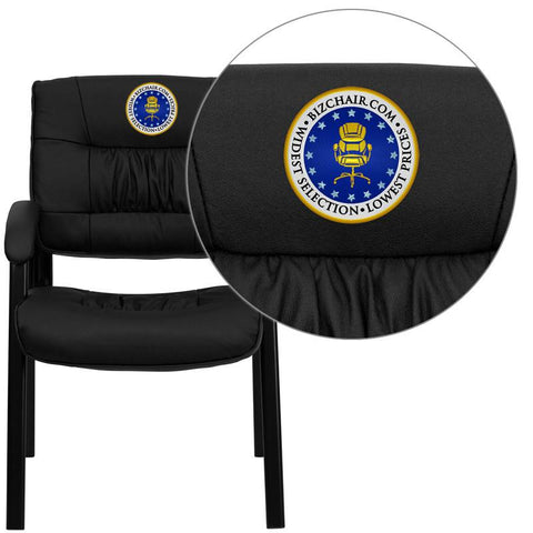 Flash Furniture BT-1404-EMB-GG Embroidered Black Leather Guest / Reception Chair with Black Frame Finish - Peazz Furniture